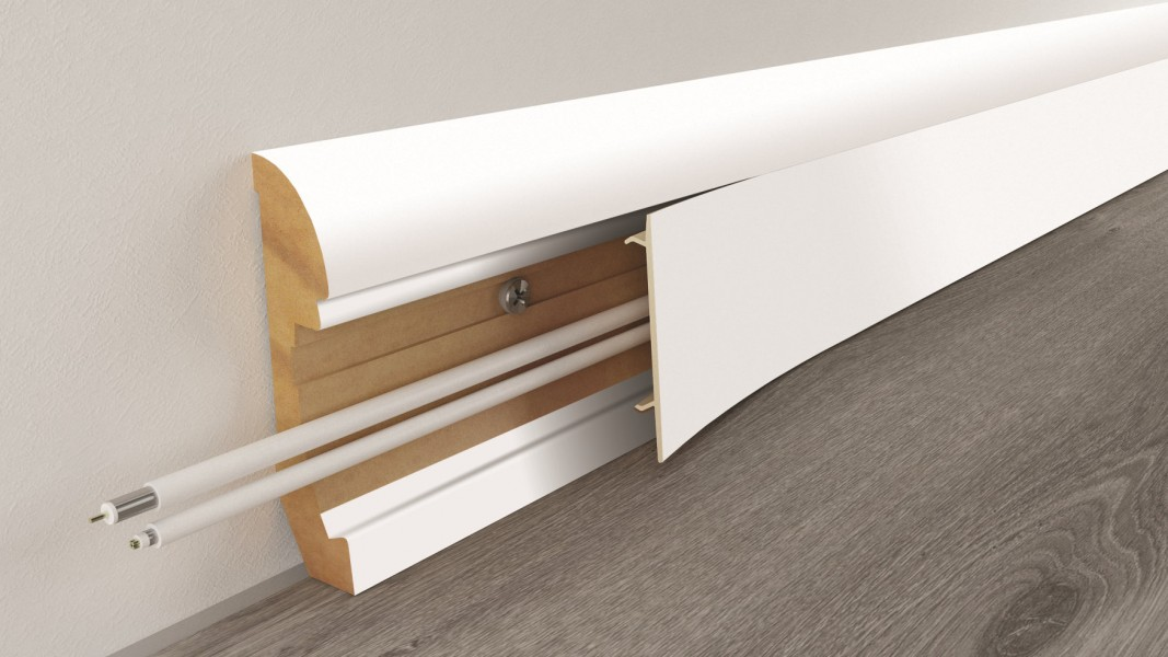 Mdf Skirting Trunking 65mm X 2 4m White