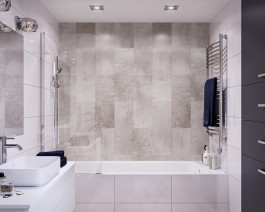 8mm Regal Wall Cladding Pastel Grey Tile 250mm x 2.7m